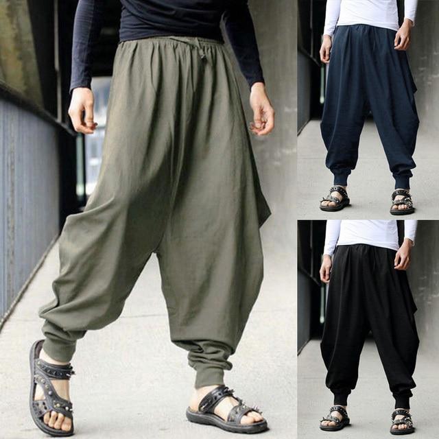 9dd3013476e New Hip Hop Aladdin Baggy Cotton Linen Harem Pants Men Plus Size Wide Leg  Trousers New Boho Casual Pants Cross-pants Hakama
