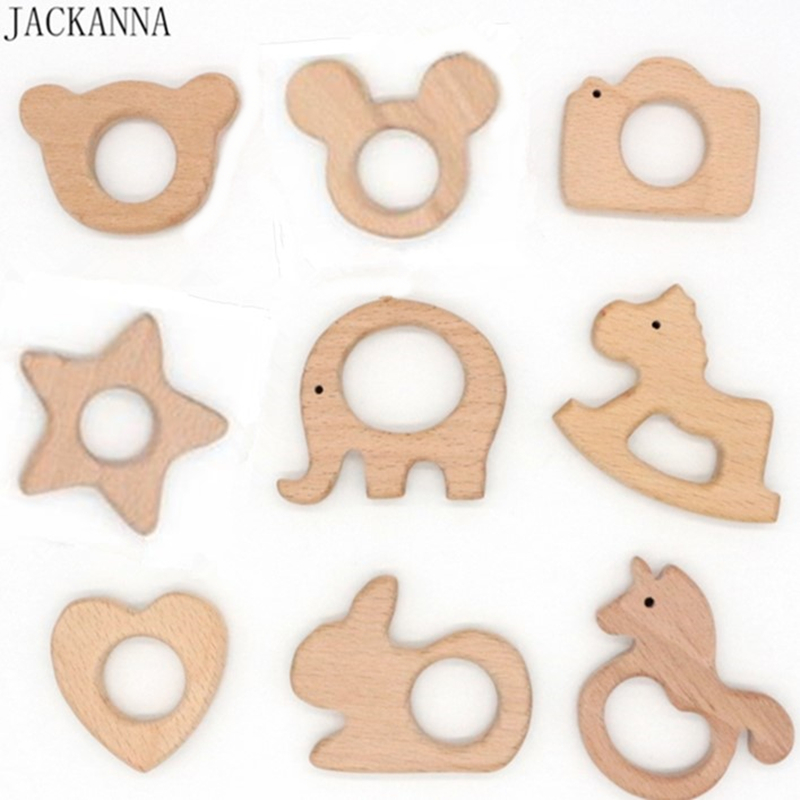 BPA FREE Natural Wood Teether Cartoon Animal Shape Wooden Baby Teether Toy Safe Newborn Kids Teething Toys Baby Shower Gift