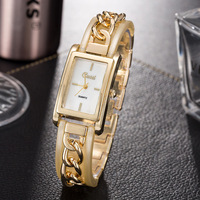 CUSSI 2018 New Womens Watches Gold Luxury Rectangle Ladies Bracelet Watches Fashion Quartz Wristwatches Office Style