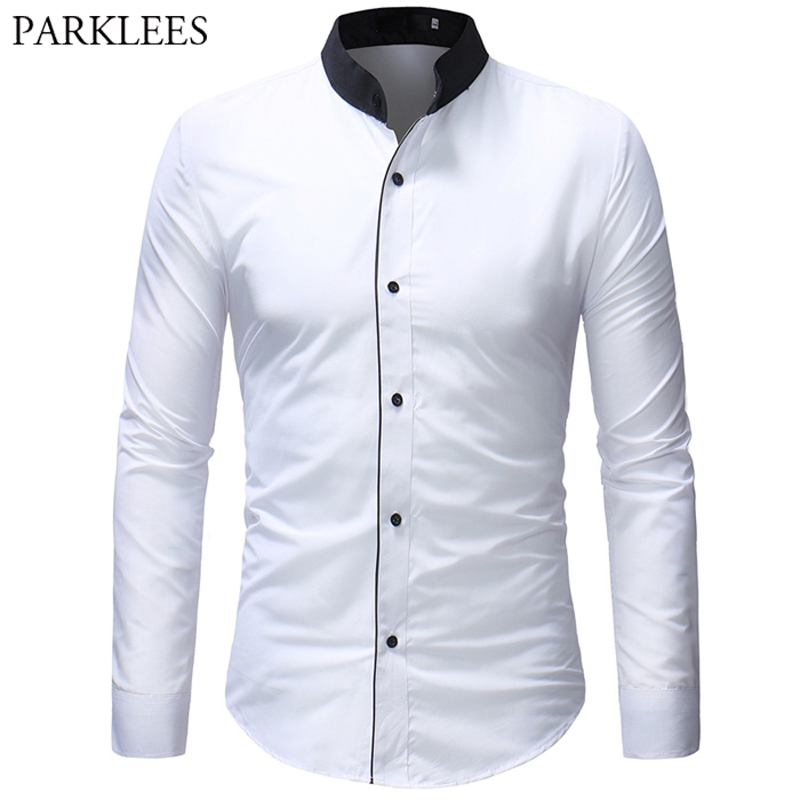 Mens Mandarin Collar Shirt Fashion Slim Fit Male White Wedding Dress Shirts Casual Long Sleeve Plus Camisa Social Masculina XXXL