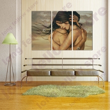 Nude Lover Figure Painting Canvas Artwork Hugging Couple Posters and Prints Dandelion Wall Art Flowers Home Decor Dropshipping