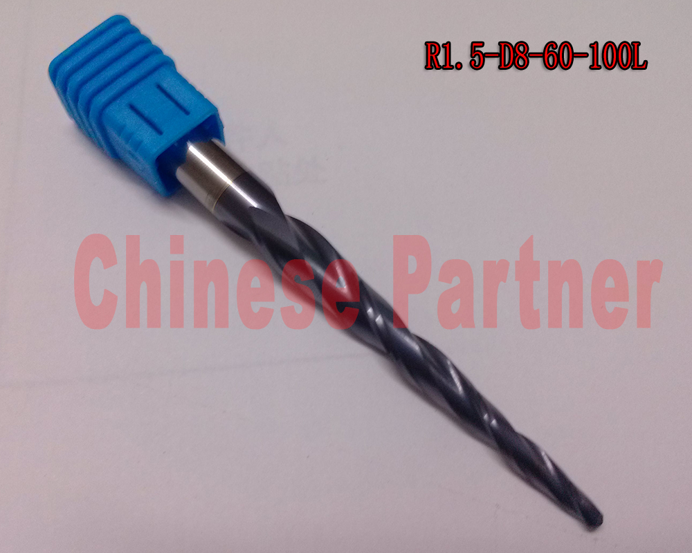 2pcs/lot R1.5*D8*60*100L*2F HRC55 Tungsten solid carbide Coated Tapered Ball Nose End Mills cone milling cutter wood knife tool 1pc r1 0 d8 60 100l 2f hrc55 tungsten solid carbide coated tapered ball nose end mills cone milling cutter wood knife tools