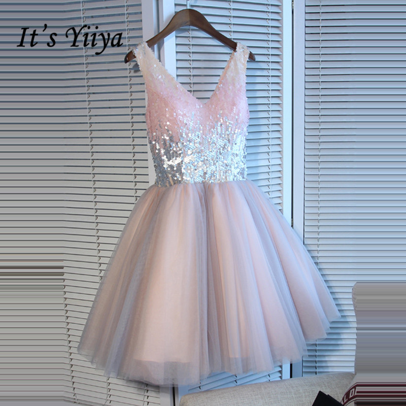 It's YiiYa Pink   Prom     Dresses   Shiny Sequined V-neck Sleevless A-line Party Gowns Sleeveless Mini   Dress   SB002