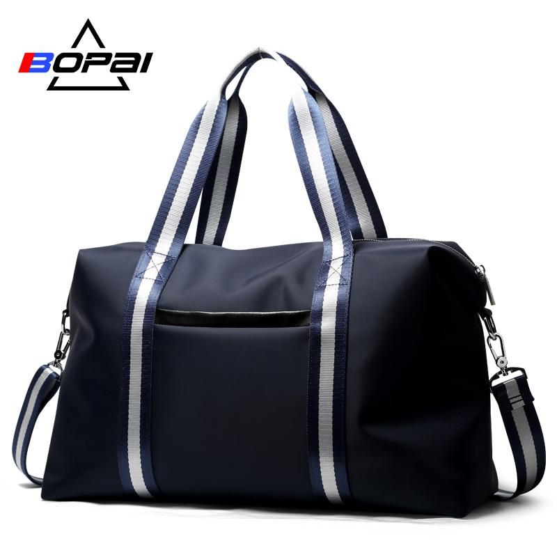 BOPAI 캐주얼 남자 여행용 가방 라이트 웨이트 여행용 가방과 여성용 가방 Unisex Blue Overnight Duffle Bag