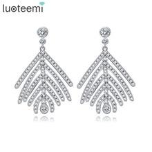 LUOTEEMI Wholesale Free Shipping Women Charm Zircon Feather Stud Earrings Fashion Women Jewelry For Wedding Party