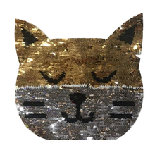 Top t shirt Women 20cm cat animal patch flip the double sided sequins deal with it iron on patches for clothing 3d t shirt mens