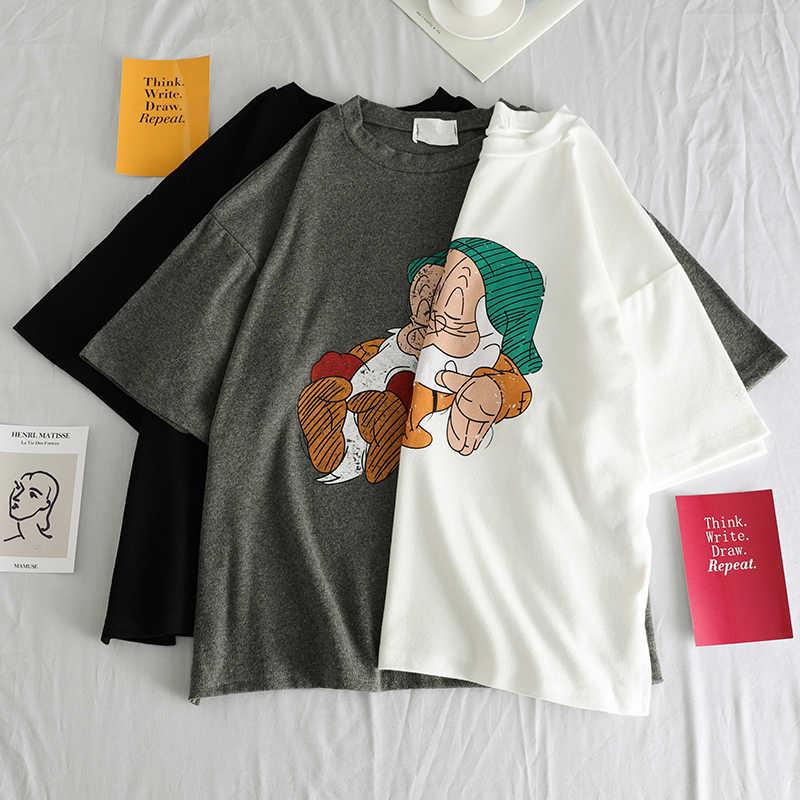 T เสื้อผู้หญิง 2019 ฤดูร้อน Tops 3D การ์ตูนพิมพ์เสื้อยืด Femme Funny แขนสั้น Harajuku สีขาวสีดำ Tees Camisetas Mujer femme