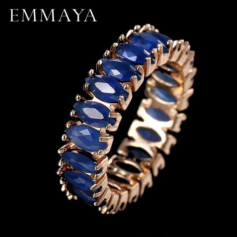 EMMAYA מקסים טבעת אבן זירקון הכחול האופנה נשים תכשיטי חתונה טבעות אירוסין Bague Femme