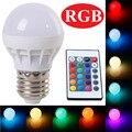 RGB CONDUZIU a Lâmpada E27 3 W Lâmpada LED RGB Soptlight 85-265 V de Energia Lampara poupança 16 Mudança de Cor LED Com Controle Remoto IR Brand NEW