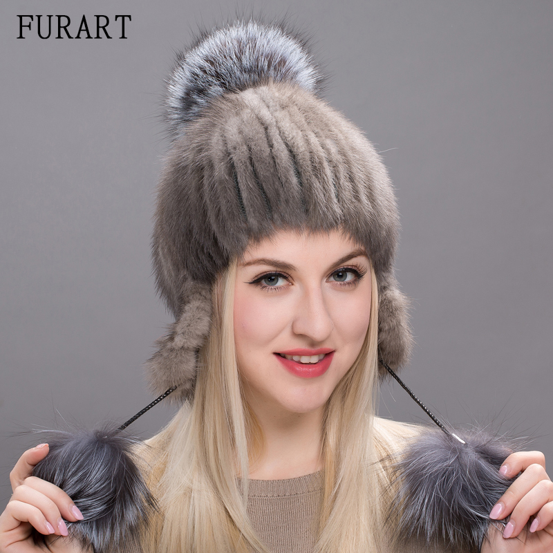 Real Mink Fur Hats For Women Winter Knitted Mink Fur Cap With Sliver Fox Fur Pom poms 2017 Brand New Warm Female Hat DHY17-13