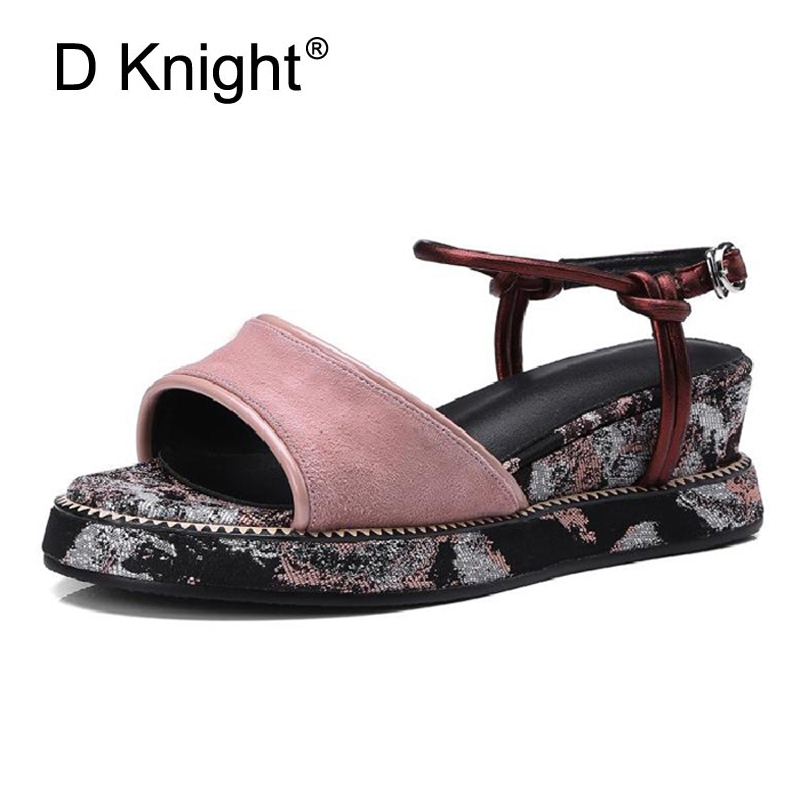 Genuine Leather Women's Sandals 2018 Summer Slip On Buckle Wedge Heels Platform Creepers Sandals Sweet Pink Flower Shoes Woman designer women sandals summer creepers platform shoes peep wedges genuine leather slip on chaussure femme