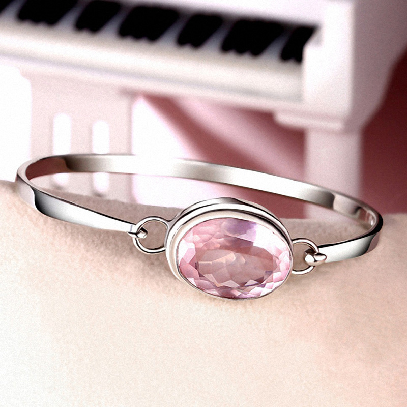 Fashion Rose Quartz Bracelet For Women 925 Pur Silver Charm Bracelet 925 Silver Elegant Natural Gemstone Bracelet&Bangle Jewelry палантин pur pur pur pur pu007gwyfj71