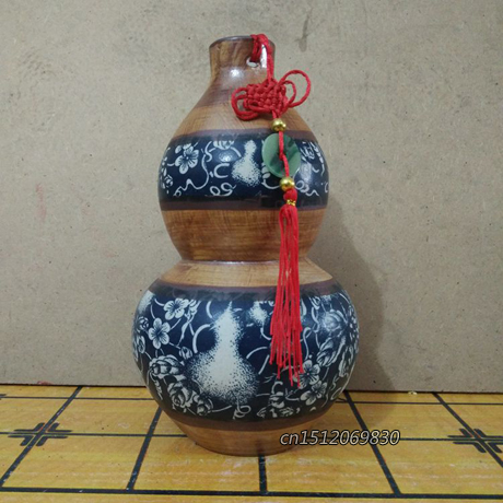 Exquisite Chinese Classical Imitation Wooden Texture Porcelain Gourd