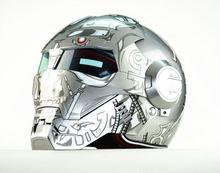 Free shipping Top ABS Moto biker Helmet MASEI Silver Terminator Iron Man personality special fashion motocross helmet