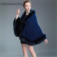 XIANXIANQING Luxury Brand Winter Womens Ladies Faux Fur Poncho Autumn Cashmere Long Fur Collar Shawl Fashion