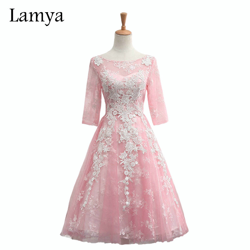 LAMYA A Line Lace Elegant Prom Dresses 2019 Women Fashionable Cheap Special Occasion Dress Formal Gown EV2914