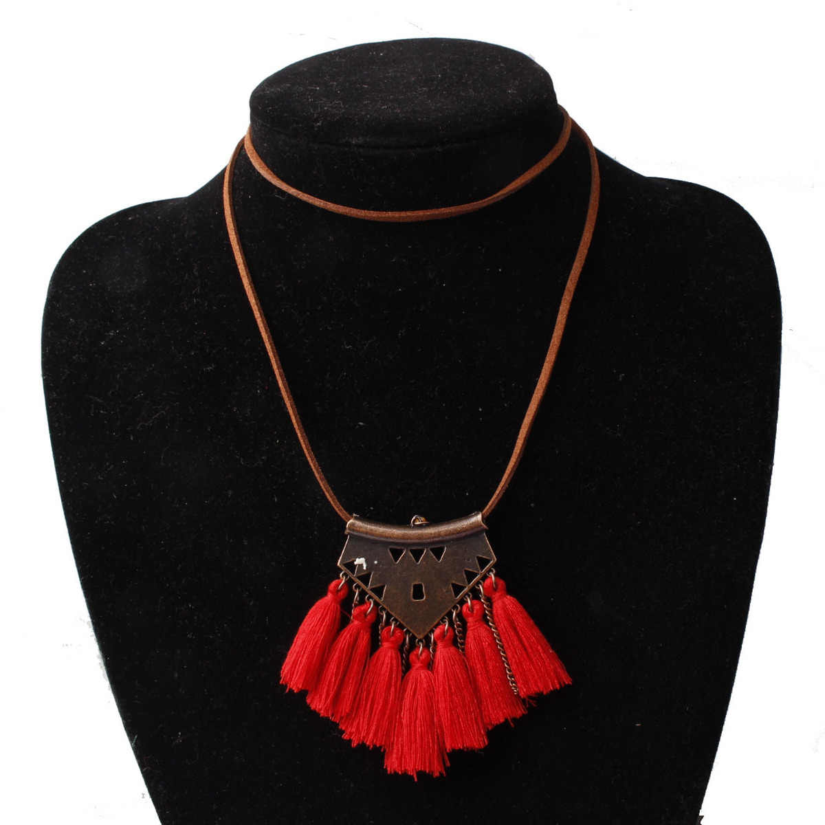 Vintage Gold Tassels Chain Pendant Necklace Fashion Romantic Red White Pink Sweater Chain Necklace For Woman Jewelry