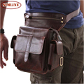 Brand Vintage Casual 100% Genuine Leather Cowhide Men Mens Multi Function Waist Bag Pack Bags Packs Leg Shoulder Bag For Man