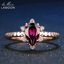 LAMOON Teardrop 5x7mm 1ct 100% Natural Rojo Granate Anillo de Plata de Ley 925 Joyas de Oro Rosa Romántica Boda banda LMRI024