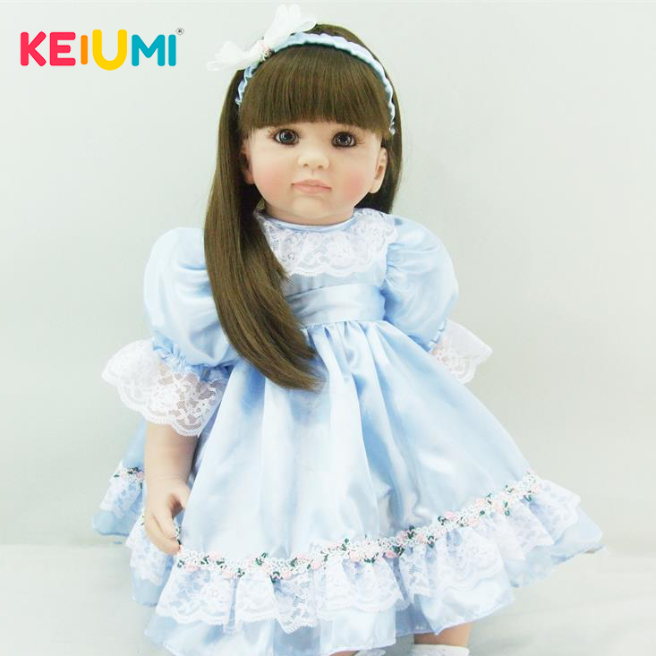 Fashion 24 Inch Princess Girl Baby Alive Doll Soft Vinyl 60cm Lifelike Wholesale Reborn Dolls Kid Birthday Gift Early Education simulation baby girl dolls with short yellow hair newborn realistic alive silicone 60cm height gift for kid house education doll