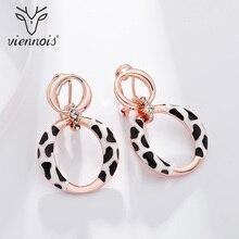Viennois Gold Color Dangle Earrings Rhinestone Classic Enamel Round Drop Earring For Women Jewelry 2019 colorful enamel gold color round party earrings