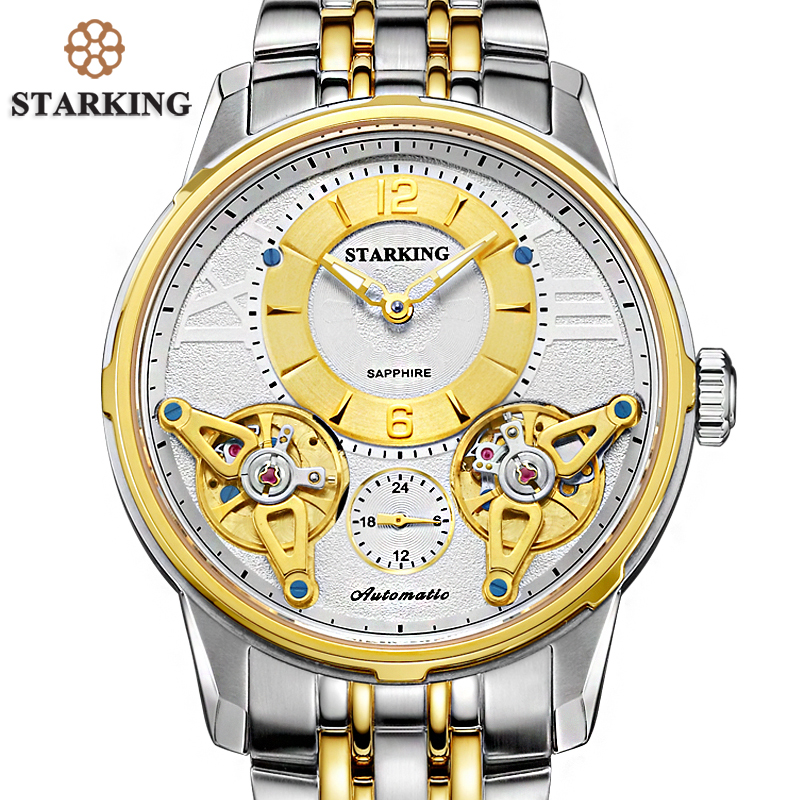 STARKING Luxury Gold Watch Men Full Stainless Steel Wristwatches 5ATM Designer Male Swimming Watches tourbillion automatic Watch ultra luxury 2 3 5 modes german motor watch winder white color wooden black pu leater inside automatic watch winder