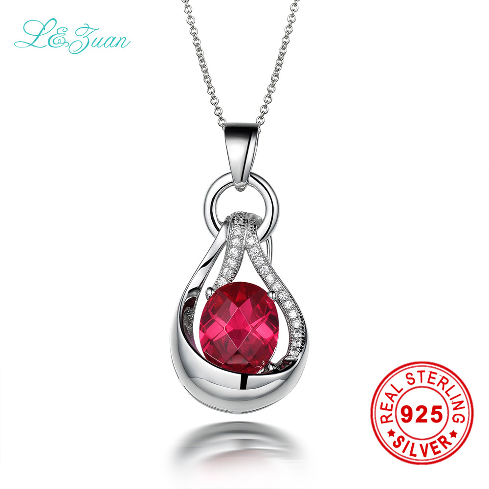 trendy natural 5.26ct red gems luxury pendant &necklace for women sterling silver jewelry necklace