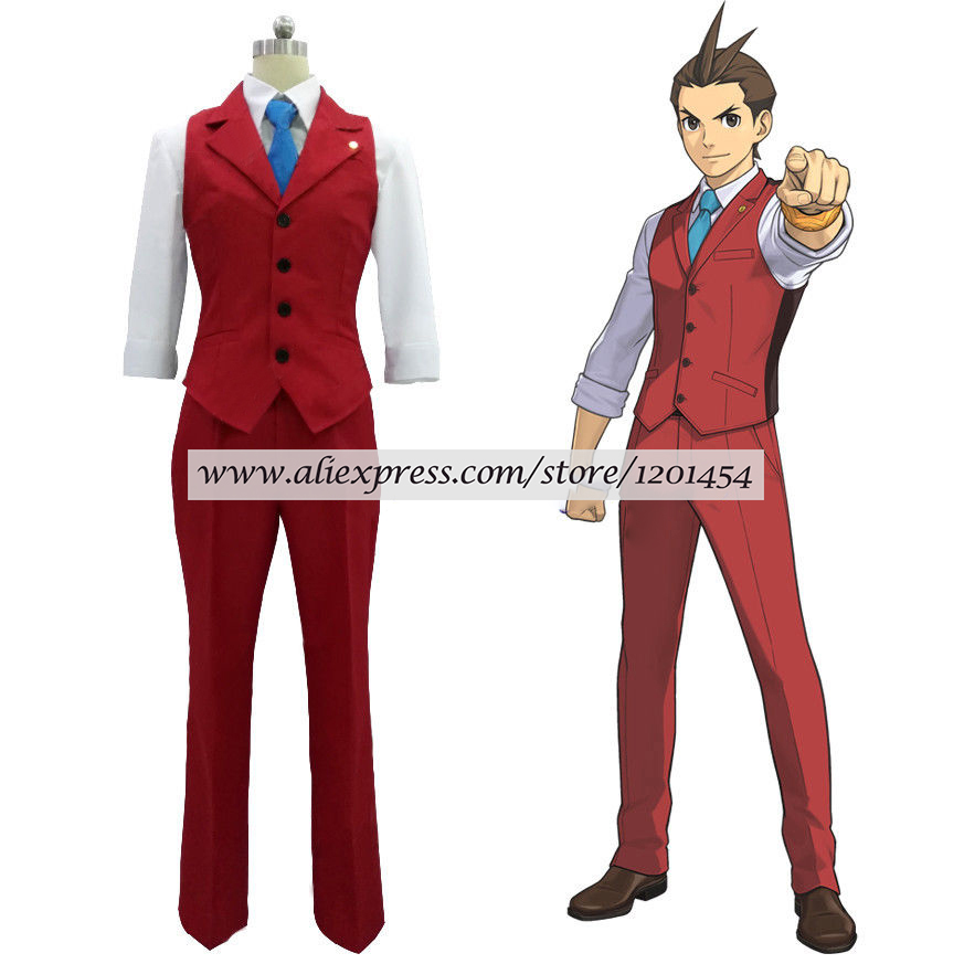 Ace Attorney Apollo Justice Red Vest Suit Outfit Cosplay Costume Full Set