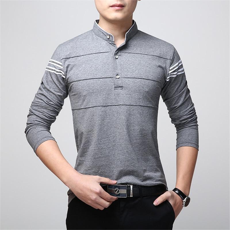 ARCSINX Slim Fit Polo Shirt Men Plus Size 5XL 4XL XXXL Long Sleeve Polo Men Polo Shirt Blue Causal Cotton Men's Polos