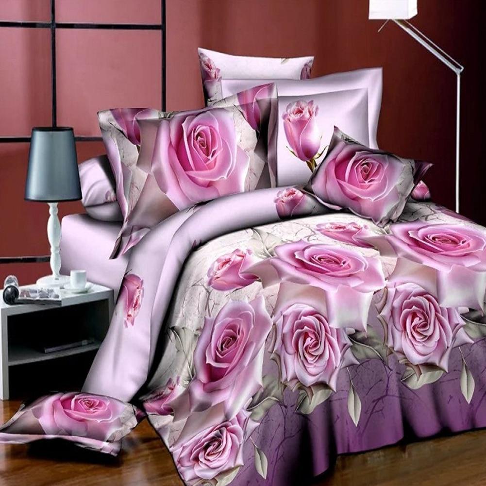 1b408fa6ec Tecido de seda macia tampa do duvet colcha fronha jogo de cama 3d flor  impressão gêmeo queen size quarto Home Edition Conjunto Quilt