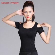 Haut de danse latine uni pour femmes, noir uni, chemise à manches longues, Sexy et en Vogue, Costume de salle de bal, tenue de scène, M XXL