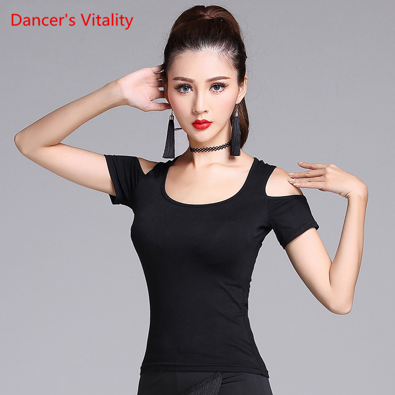Solid Black Latin Dance Top For Women Long Sleeve Dancing Shirts Sexy Vogue Ballroom Costume Performance Dancing Wear M-XXL