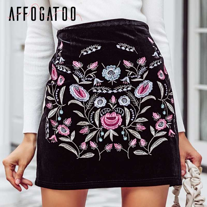 cddc3b6ab55c Affogatoo Embroidery high waist short skirts women Vintage boho style chic  pencil skirt Sexy autumn mini