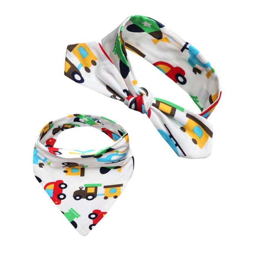 BMF TELOTUNY Fashion Cotton Blends Baby Kids Bandana Bib Feeding Saliva Towel Triangle Waterproof Headband Set