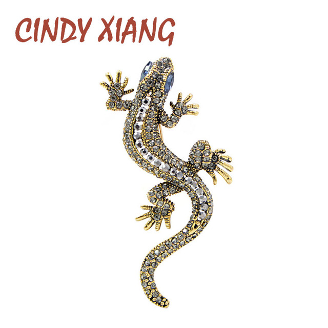 CINDY XIANG 2 Colors Available Rhinestone Lizard Brooches Vintage Animal Brooch Pin Full Rhinestone Inlay Suit Accessories Gift 1