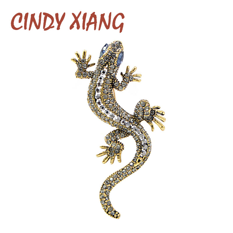 CINDY XIANG 2 Colors Available Rhinestone Lizard Brooches Vintage Animal Brooch Pin Full Inlay Suit Accessories Gift