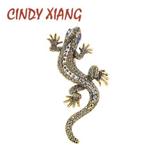 CINDY XIANG 2 Colors Available Rhinestone Lizard Brooches Vintage Animal Brooch Pin Full Rhinestone Inlay Suit Accessories Gift