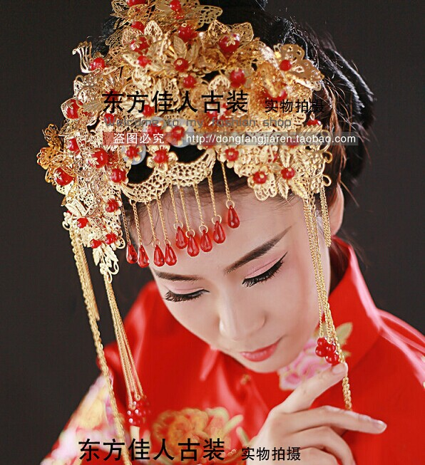 цена на Chinese Traditional Wedding Bride Costume Hanfu Accessory Hair Tiaras Hair Accessory