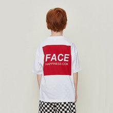 Summer New Tide Brand FACE Red T-shirt Printing Children Casual Short-sleeved Boy Loose Cotton Shirt Clothes For Kids