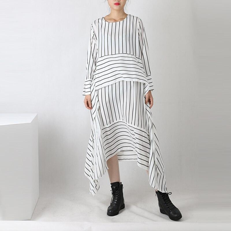 Elegant Women Dress Maxi Stripe Shirt Dress White Black O Neck Cotton 2017 Summer New Style