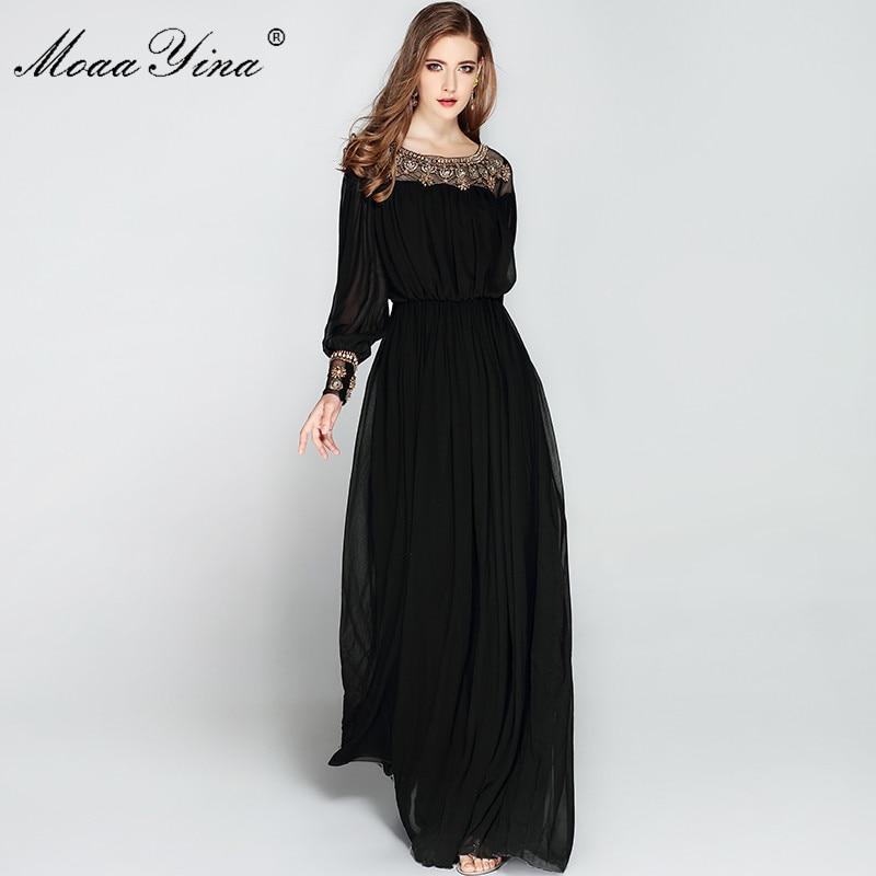 0476518e22e US $49.92 48% OFF|MoaaYina w stylu Vintage elegancka czarna sukienka  kobiety z długim rękawem O neck luksusowe Voile frezowanie długość podłogi  ...