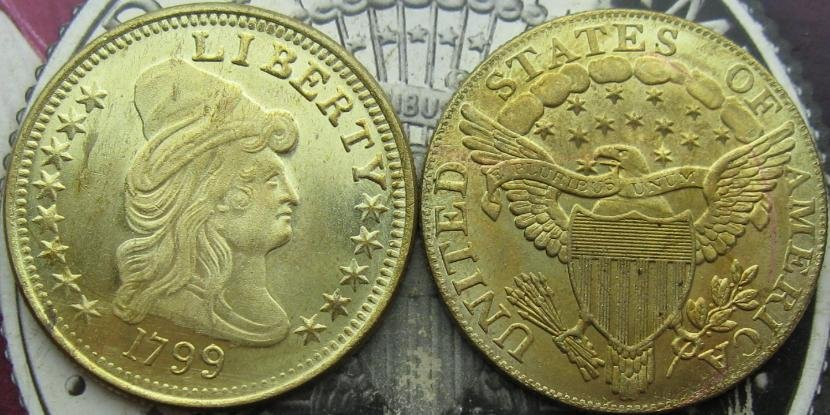 1799 DRAPED BUST 10.00 EAGLE GOLD COIN COPY -replica coins medal commemorative coins