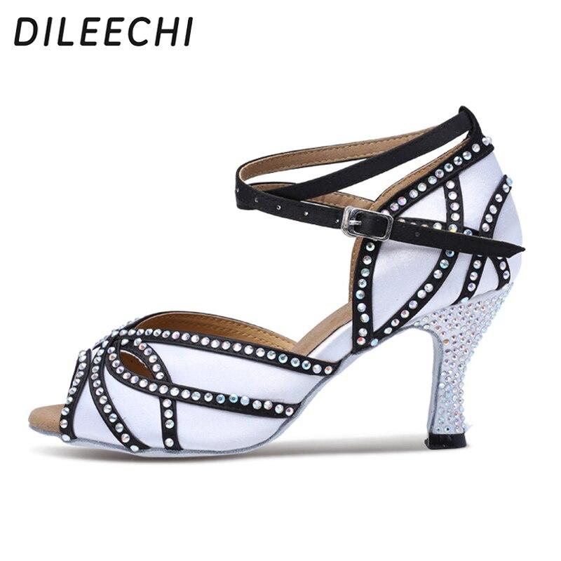 DILEECHI Satin Upper Rhinestones Sandals Dance Shoes Latin Women's Salsa Dance Shoes Ballroom Dancing Shoes White Heel 75mm