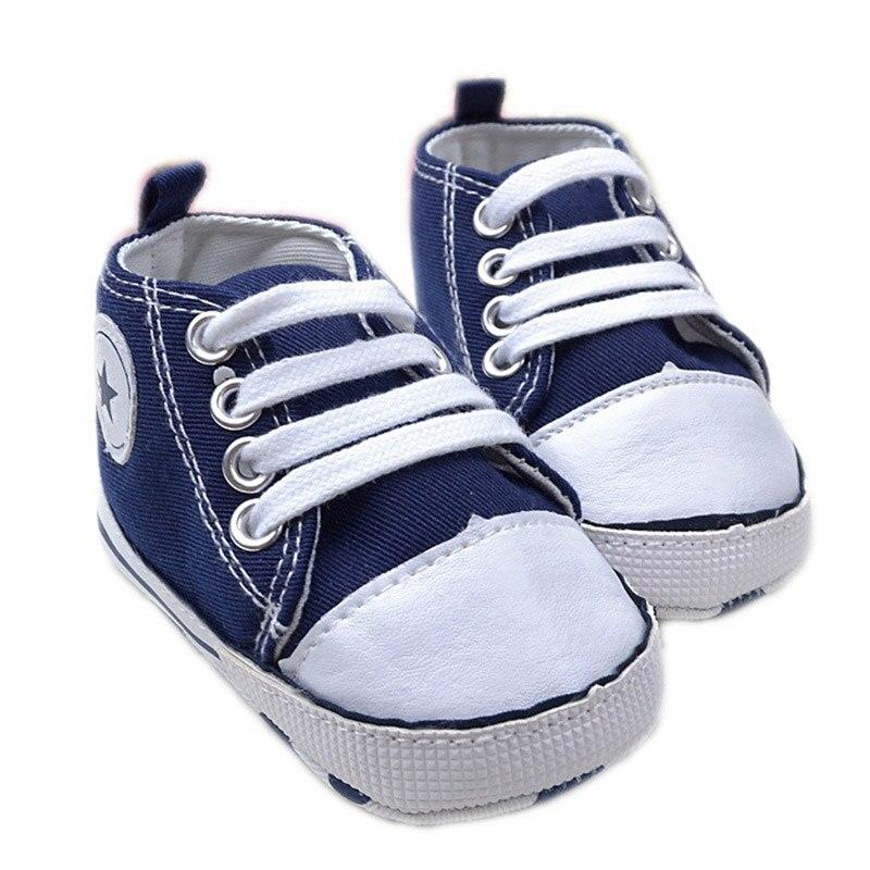 Bebé recién nacido Primer Caminante Zapatos de Lona Estrella Diseños Sólidos úni