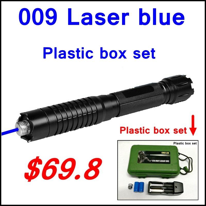 ReadStar 009 Laser stylo Bleu laser pointeur haute brûler en plastique boîte ensemble incluent 1 motif étoilé cap 16340 batterie et chargeur