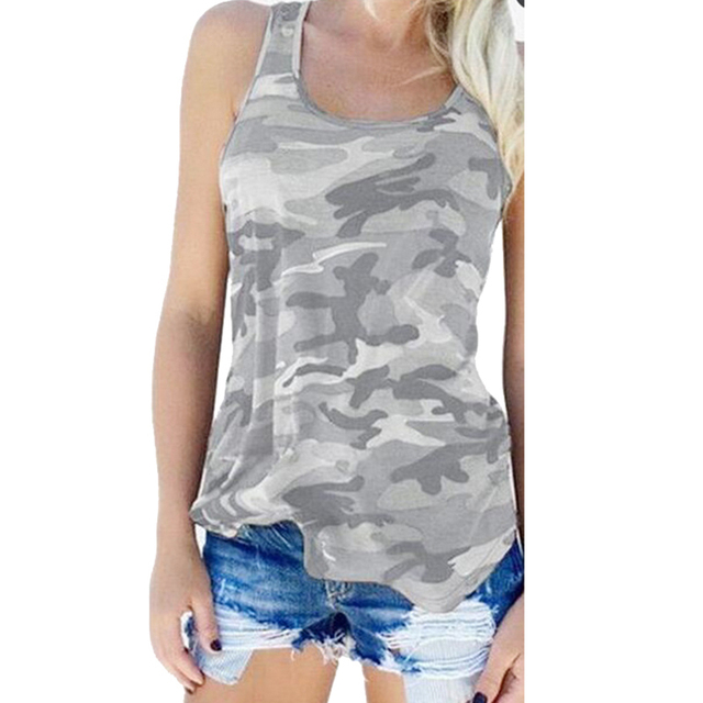Loose Sleeveless Camouflage Printed Fitness Tank Top