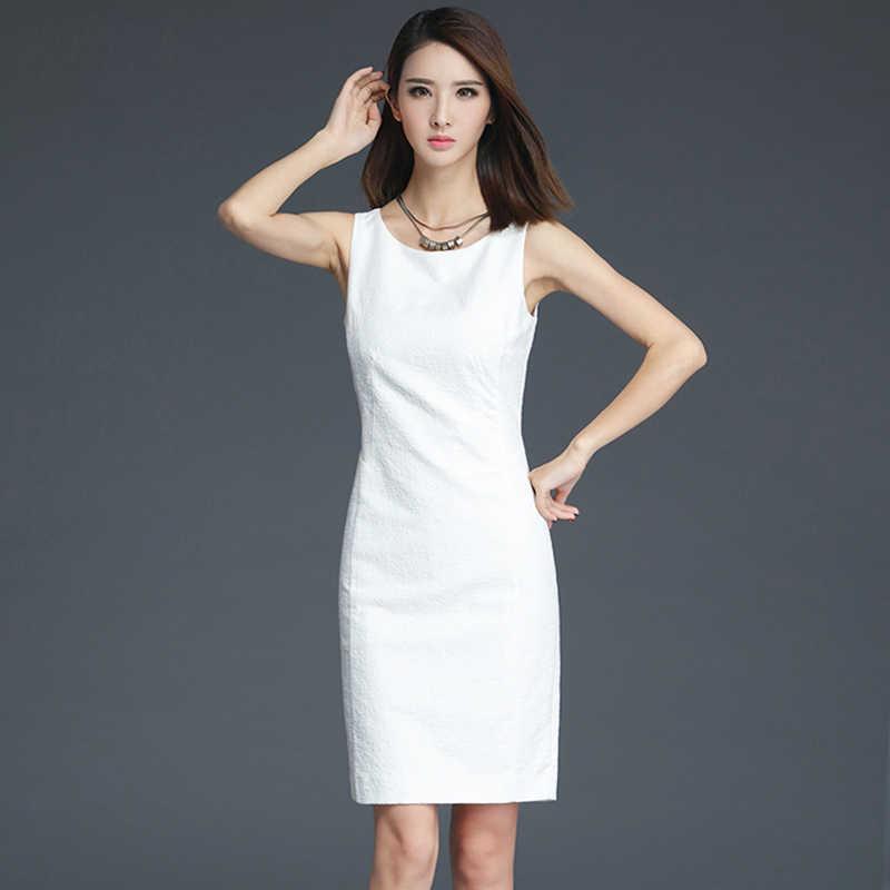 562ebdc67f4 Летние женские 2017 без рукавов H тип офисные платья женские классические  простые тонкие с круглым вырезом