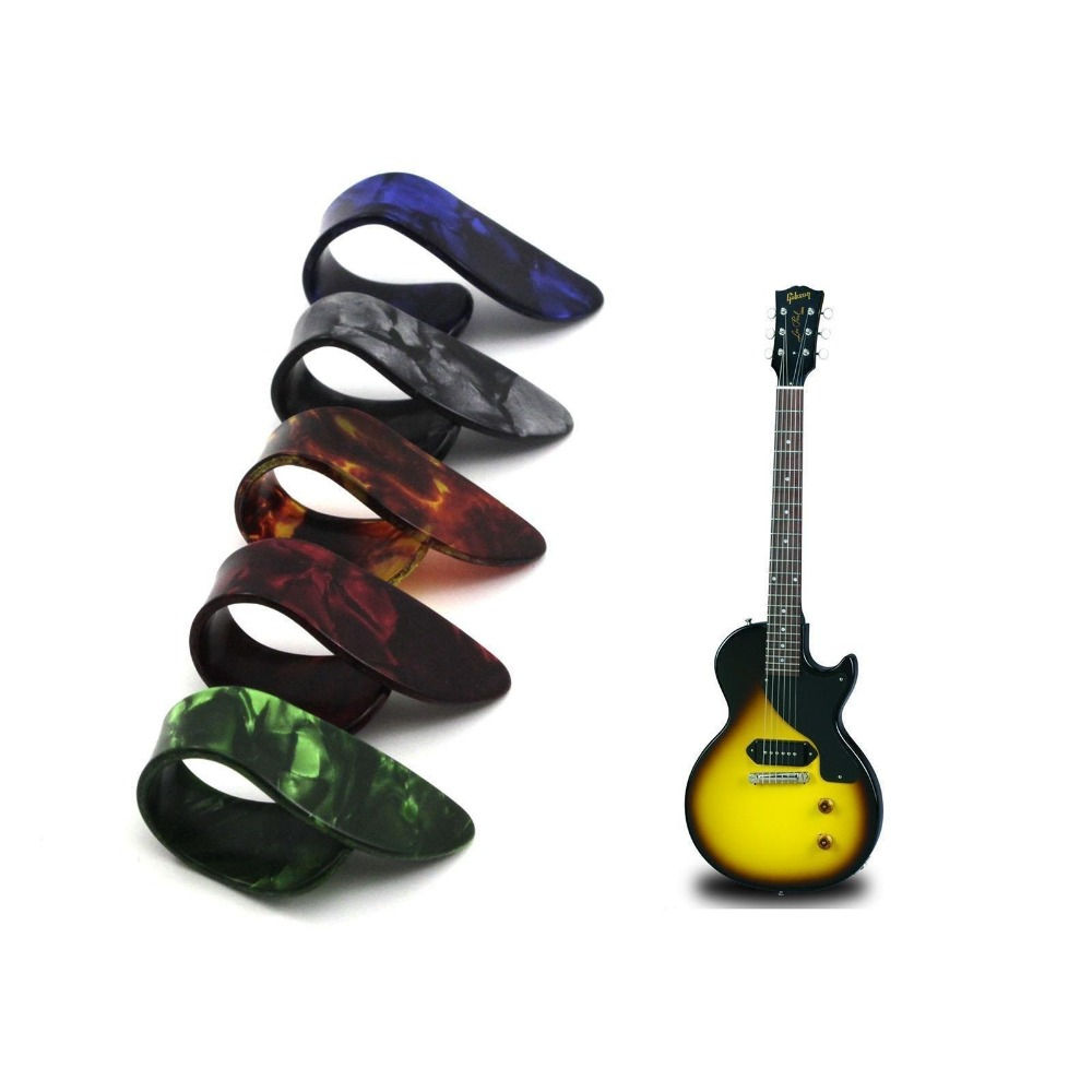 3Pcs Plactic Guitar Thumb Pick acoustic Bass Ukelele Plectrum Holder Case Box Portable Alice Heart Shape bulk Instrument