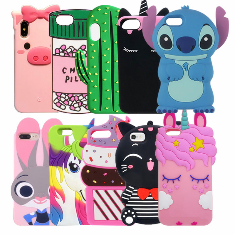 For Apple iPhone 6 6s 6plus 7 8 plus Cute Cartoon unicorn Cat Rabbit Soft Silicone case For iphone X XS Max Xr 7 8 6 5 5S SE 5C iPhone