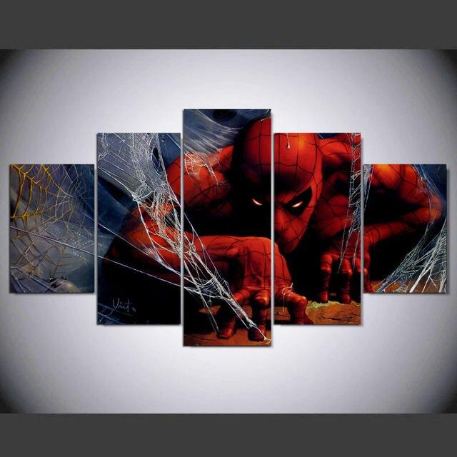 5 panel enmarcado HD impreso hombre araña película gran lienzo ...